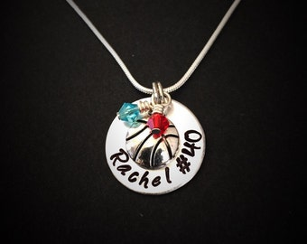 Hand stamped Basketball Necklace, Personalized Jewelry, Sports Jewelry, Hand stamped Jewelry, Basketball Team Jewelry