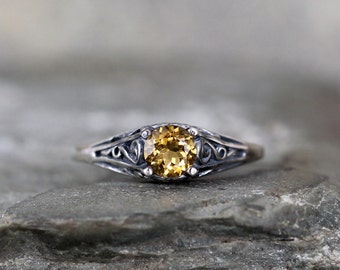 Citrine Ring - November Birthstone Ring - Antique Style Citrine Ring - Dark Sterling Silver - Citrine Gemstone Rings - Filigree Ring