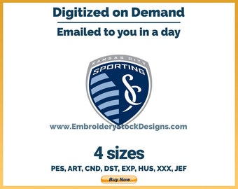 Sporting Kansas City - Soccer Sports Logo Embroidery Design - 4 sizes Embroidery