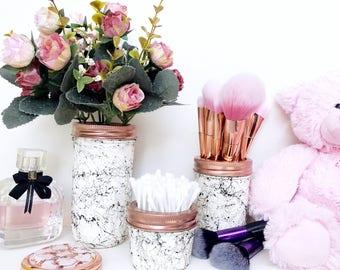 Marble Mason Jar decor, painted jar, Minimalist decor, marble makeup brush holder, marble makeup storage, marble accessories, dressing table