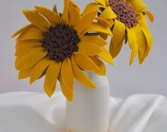 Sunflower (2) / Felt Flowers / Felt Flower Stem / BUY the Stem