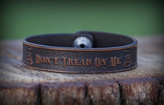 Genuine Leather Bracelet, Don't Tread on Me