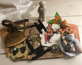 Antique Assemblage Bits and PiecesLot 1800's-1940