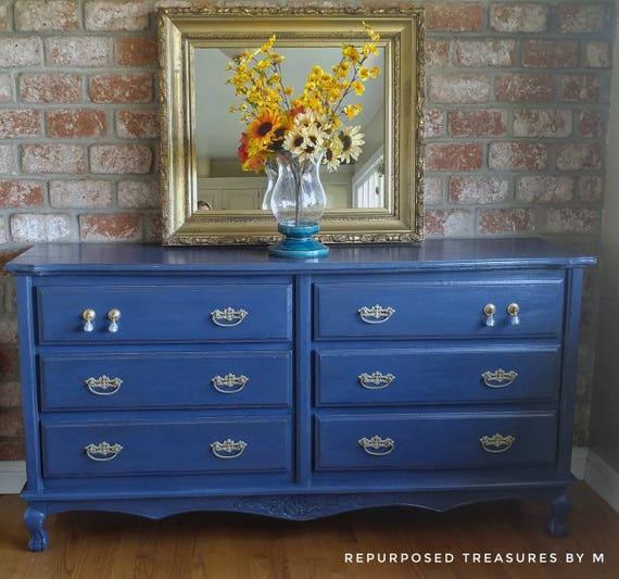 Vintage dresser blue dresser distressed dresser shabby