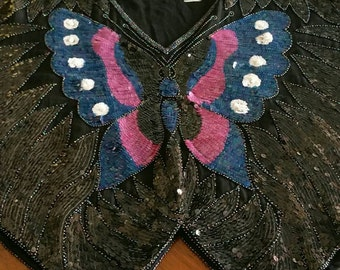 Pure silk beaded, sequined butterfly top.