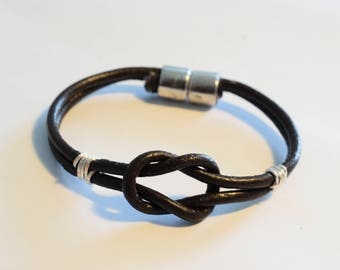 Real leather infinity bracelet, unisex