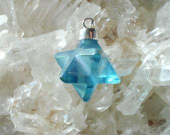 Aqua  Aura Merkaba Pendant - set in Sterling Silver - A Grade !  Magical !