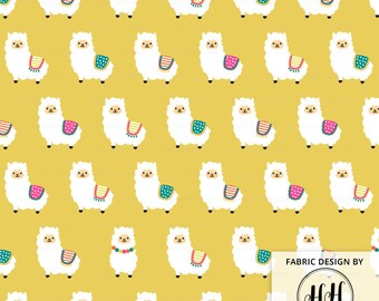 Alpaca Party Fabric By The Yard - Ocre Yellow / Llama Fabric / Alpaca Fabric / Baby Nursery / Whimsical Fabric Print in Yards & Fat Quarter