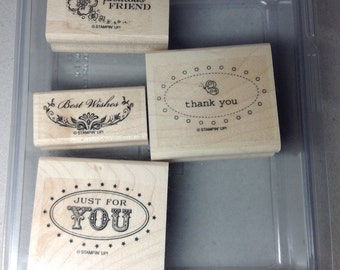 Stampin' Up! Retired Stamp Set, Oval All, Thanks, Best Wishes