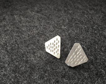 Mismatched Silver Earrings, Geometric Stud Earrings, Earrings, Stamped Silver Earrings, Minimalist Stud Earring, Gift for Her, Gift under 20