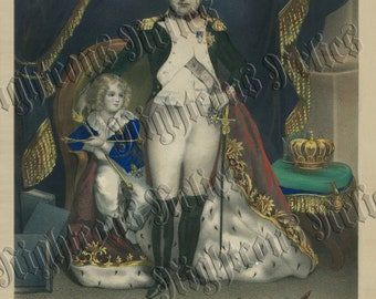 RARE 1811 Napoleon Bonaparte & Son II Old Lithograph Art Print French Revolution