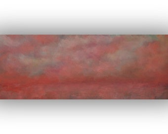 Pink Abstract Oil Painting, Sky Clouds and Field Painting, Colorful Original Landscape, 12 x 36 Palette Knife Art on Canvas