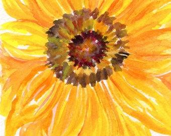 Sunflower watercolor painting original, sunflower artwork 4 x 6 watercolor flower, sunflower decor, watercolor sunflower, sunflower wall art