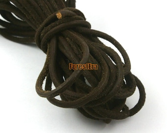 5 Yards 3mm Leather Cord Frosted Brown Leather Belt Round Leather Cord Genuine Leather Cord (YPS32)