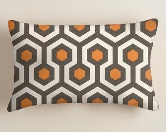 PILLOWS - Covers - Grey  Pillows - Lumbar  Decorative Throw Pillow -  Accent Pillows  Decor Orange  Cushion Covers  decorative Pillows