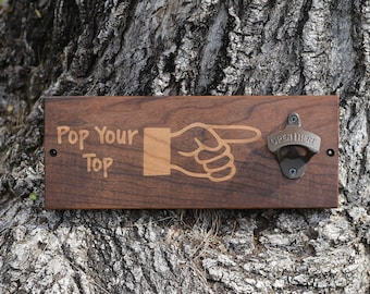 Father's Day Gift, Beer Gift Fathers Day, Handmade Father's Day Gift, Beer Bottle Opener, Wood Bottle Opener, Wall Mount Beer Opener, BBQ