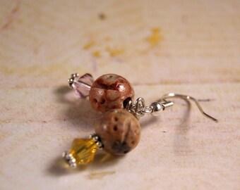 Pink Lemonade Soapstone and Swarovski Crystal Earrings
