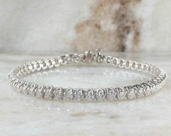 10K White Gold 5.00ctw Round Diamond SI2-I1/G-H Tennis Bracelet