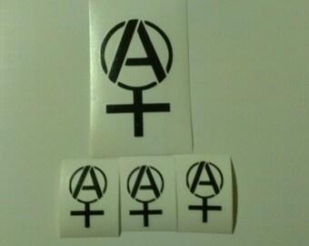 4 Decal set : 1 Large Anarcha Feminist  + 3 Small Anarcha Feminist Vinyl Decals