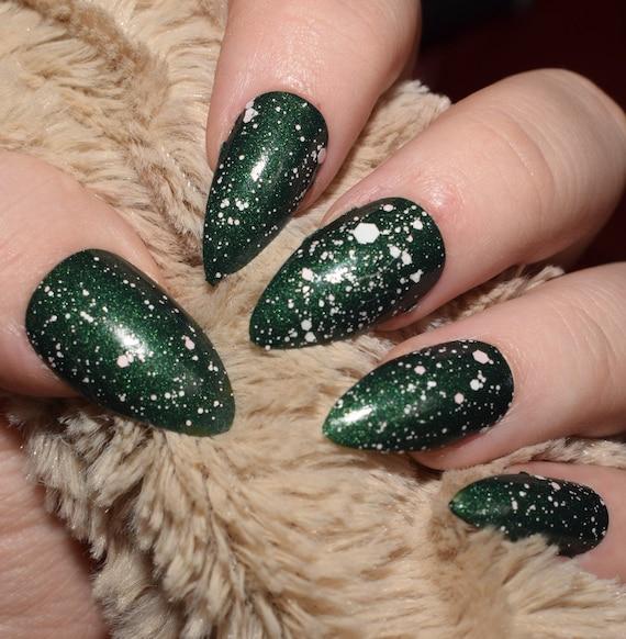Green Fake Nails, Long Stiletto False Nails, Hand Painted Press On ...
