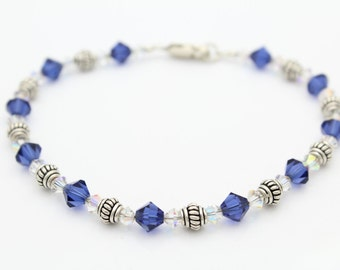 "Dainty Sterling Silver and Crystal Bead Bracelet 8"". [6437]"