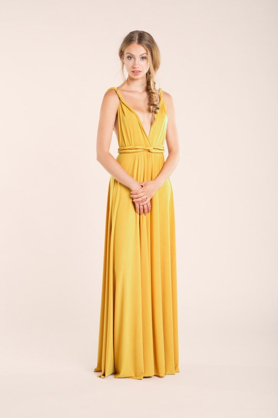 Prom Dress Mustard Yellow Bridesmaid