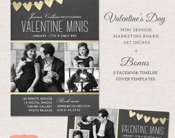 Valentine Mini Session, Photography Marketing Board, Valentine Facebook Timeline Cover, Photoshop Template for photographers MV005