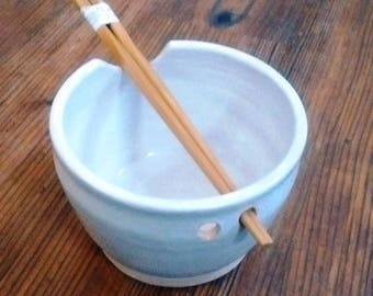 White Wheel Thrown and Hand Painted Rice Bowl with Chopsticks 3 1/2H X 4 3/4W