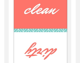 """Clean Dirty Dishwasher Magnet - Classic - 2.5"""" x 3.5"""" - Christmas Stocking Stuffer"""