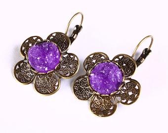 Antique brass flower purple faux dusy leverback dangle earrings - Faux Druzy earrings - Cadmium free earrings (809)