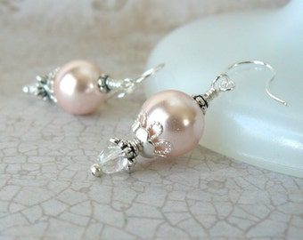 Peach Pearl Earrings, Pale Apricot Vintage Style Dangles, Elegant Pearl Jewelry, Prom Jewelry, Gift For Her