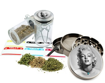 "Marilyn Monroe - 2.5"" Zinc Alloy Grinder & 75ml Locking Top Glass Jar Combo Gift Set Item # 50G012516-7"