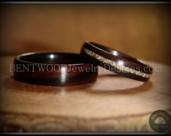"Bentwood Rings - ""Classic Couple"" Macassar Ebony Wood Rings with Glass Inlay using my bentwood process for very durable wood ring."