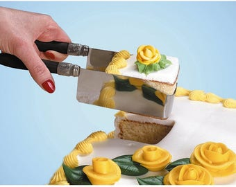 Square Cake Cutter Server For Easily Cutting And Serving Wedding Cake Or Birthday Cake, Easily Pick Up Cake Slice At Parties Without Mess