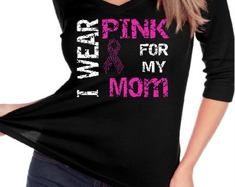 """Breast Cancer Ribbon """" I wear Pink for """" Customized Name Custom BLiNg Shirt"""