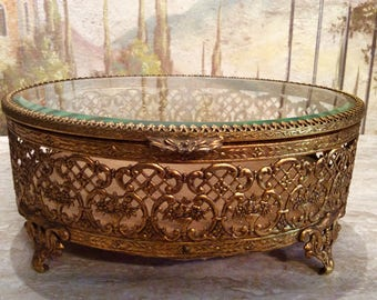 Gold Jewelry Casket Dresser Box
