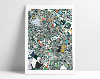 Raleigh, Raleigh NC, Raleigh Map, Raleigh Print, City Map, Abstract Art, Wall Art, Raleigh Poster Print, Raleigh Travel Map, Raleigh Gift
