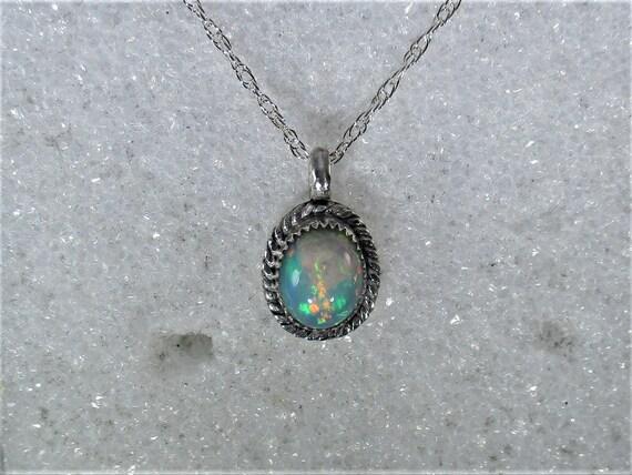 Genuine Ethopian opal gemstone handmade sterling silver pendant necklace - opal jewelry- opal necklace - fire opal