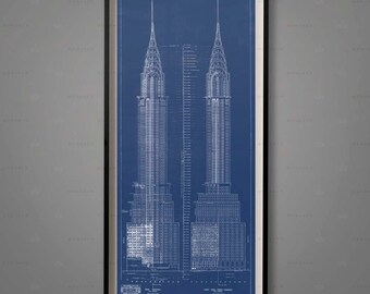 Blueprints etsy more colors chrysler building blueprints architecture malvernweather Gallery