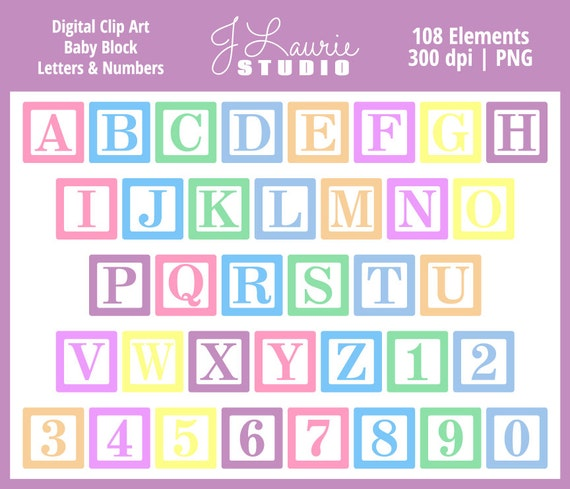 Digital Alphabet Letters Clipart-Baby Block Letters-Baby