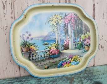 Retro Decorative Metal Tray Made in Great Britain- Vintage Shabby Chic Home Decor, Serving Tray, Lady in Garden, Wall Art, Vintage Gifts