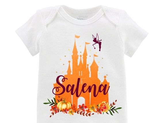 Fall Disney Castle Fall Floral Tinkerbell Orange Ruffle Raglan Shirt Personalized Flutter Sleeve Fall Floral Girl Shirt Watercolor Floral