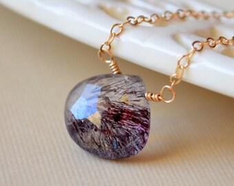 Gemstone Necklace, Moss Amethyst, Simple Gold Choker, Genuine Semiprecious Stone Jewelry, Free Shipping