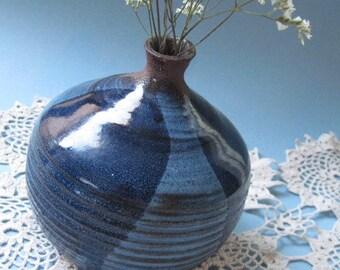 Vintage Signed Stoneware Pottery Blue Glazed Vase