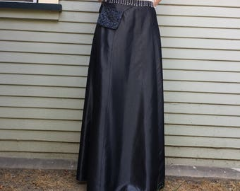 vintage 90s ball gown taffeta maxi skirt gunmetal with attached fannypack size large womens