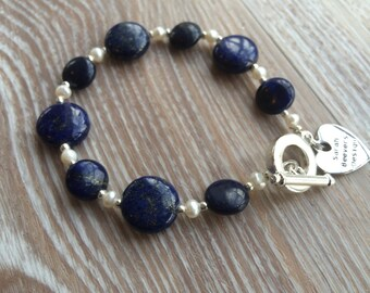 Lapis and fresh water pearl bracelet with toggle clasp UK made