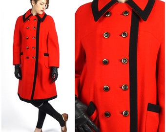 Vintage 60's Mod Red and Black Double-breasted A-line Wool Dress Coat by Bromleigh New York   Medium