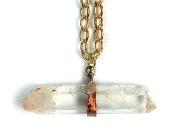 Crystal Necklace - Brass - OOAK - Rustic - Boho Chic - Speckled - Antiqued - Raw - Organic - Crystal Quartz Necklace - Made In Brooklyn