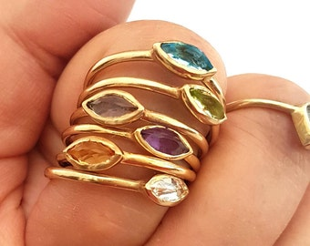 14k Solitaire Ring, Choice of Marquise Gemstones, Birthstone Ring