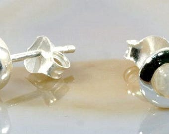 Moonstone and silver earstuds  --  4946